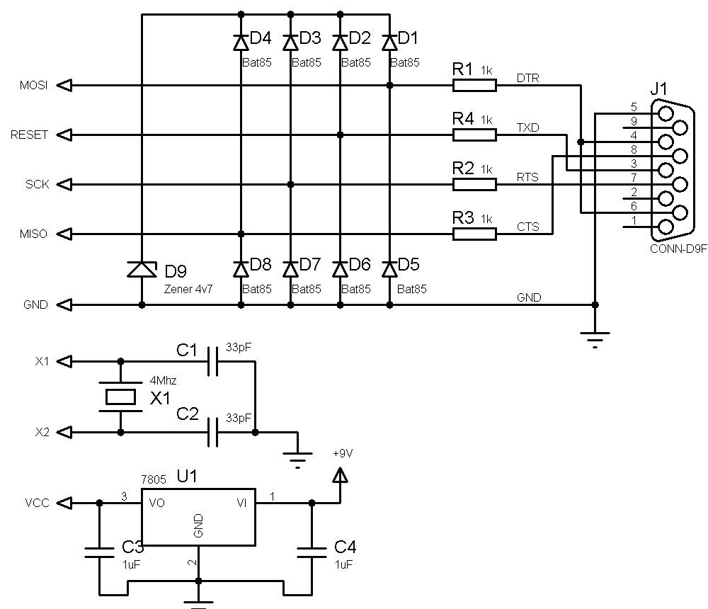 Make Your Own Ultra Simple Universal Avr Programmer Embedded Usb Pin Configuration Serial Port Circuit Diagram