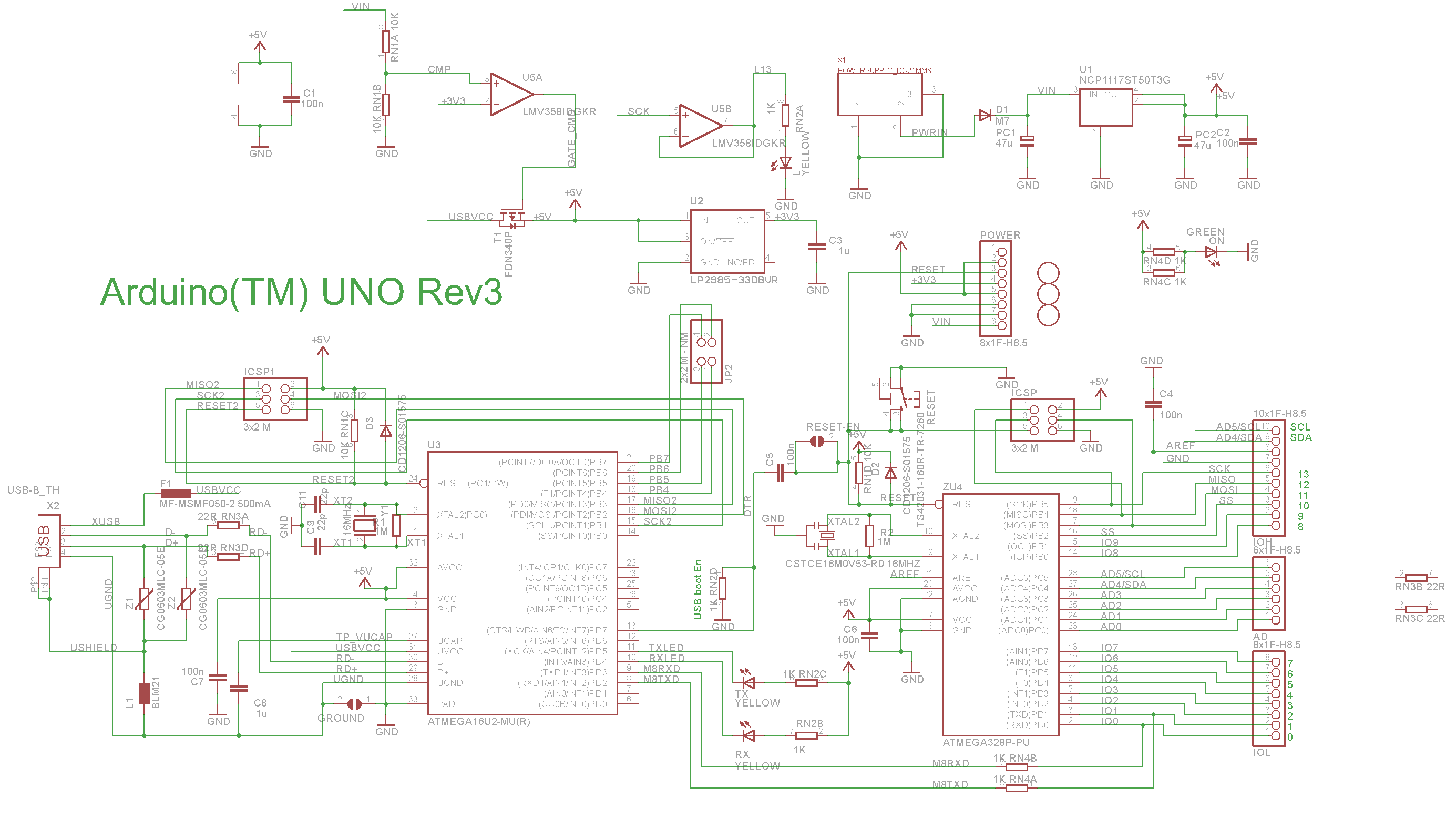 Arduino Uno Schematic  Colour   U2013 Embedded Electronics Blog